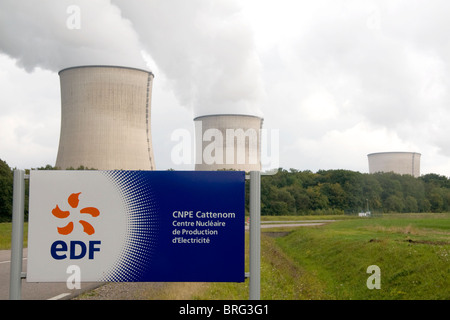 The Cattenom Nuclear Power Plant located in the Cattenom commune along the Moselle River in France. - Stock Photo