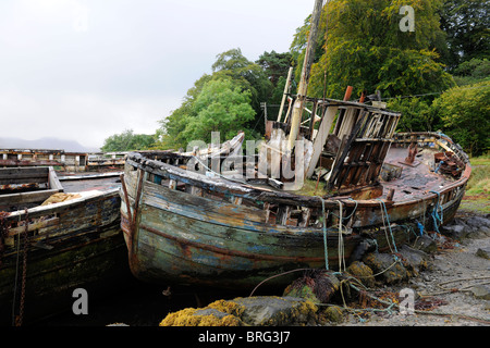 Derelict boat on the Isle of Mull-1 - Stock Photo