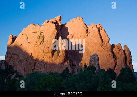North Gateway Rock; years of erosion leave sandstone formations in the Garden of the Gods, Colorado Springs, Colorado, - Stock Photo