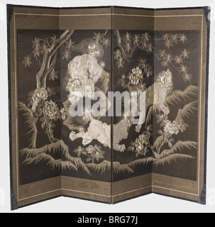 A Japanese folding screen (byobu), Meiji period Four-panel folding screen with brocade embroidery on silk covered - Stock Photo