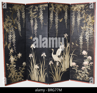 A Japanese folding screen (byobu), Meiji period Four-panel folding screen, the panels covered with black atlas silk. - Stock Photo