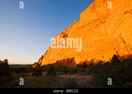 North Gateway Rock, Garden of the Gods. Years of erosion create unique sandstone formations, National Natural Landmark, - Stock Photo