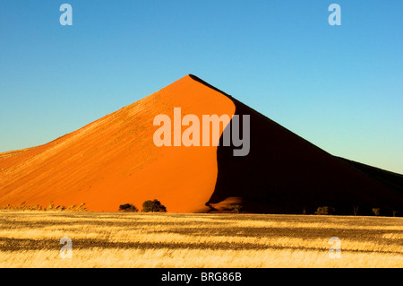 Morning sunlight on Dune 45, Sossusvlei, Namibia. - Stock Photo