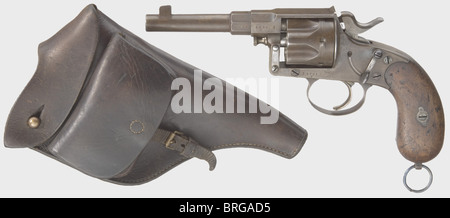 A Reichsrevolver Erfurt Mod. 1883 with holster, calibre 10.6 mm. Completely matching numbers. Bright bore with deep - Stock Photo