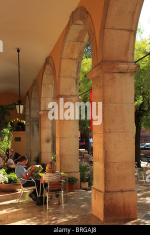 Columns of the old Town Hall, Central Square, Silves Town, Algarve Portugal - Stock Photo