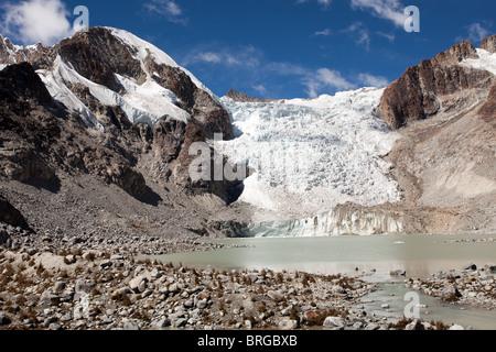 Laguna Glacial Trek: Glacier at 5100m. - Stock Photo