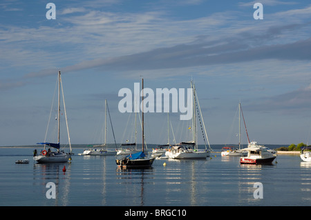 Anchored sailing boats in St.Ante Bay (Porat Sv. Ante) on Island Silba, Croatia - Stock Photo