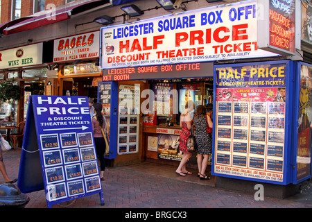 Leicester Square Box Office, half price and discount theatre ticket booth, London, England - Stock Photo