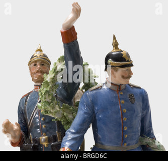 The Glorious Homecoming of the Victors 1871, a group of figurines manufactured by Meissen Porcelain, colour-composed, - Stock Photo