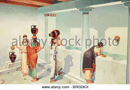 Ancient Greek women fill jars with water at a town's fountain house. - Stock Photo