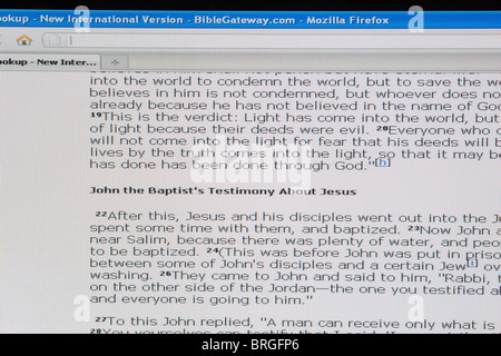 website screen shot of online passages from the bible - Stock Photo
