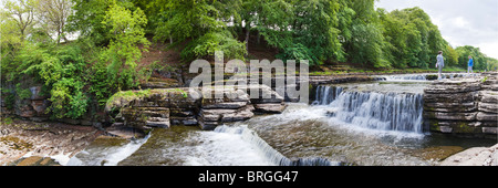 A panoramic view of the Upper Falls on the River Ure at Aysgarth, North Yorkshire, Wensleydale, Yorkshire Dales - Stock Photo