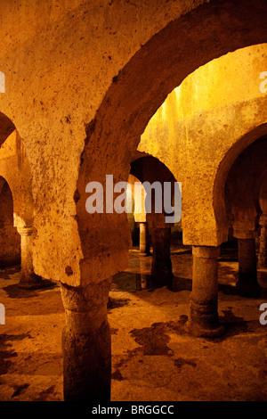 Aljibe Hispano Arabic at the Palace of Veletas, historic center of Caceres, Extremadura, Spain - Stock Photo