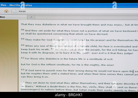 website screen shot of online passages from the koran - Stock Photo