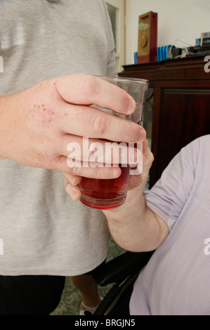 male carer (son) giving a drink to a disabled elderly man - Stock Photo