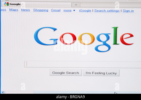 website screen shot of google search engine - Stock Photo