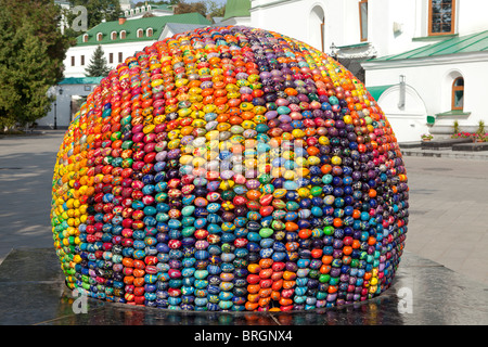 Ball made of Ukrainian Easter eggs (Pysanky) at the Kiev Pechersk Lavra (1015) in Kiev, Ukraine - Stock Photo
