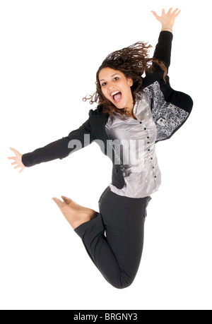 beautiful young business woman jumping over white background - Stock Photo