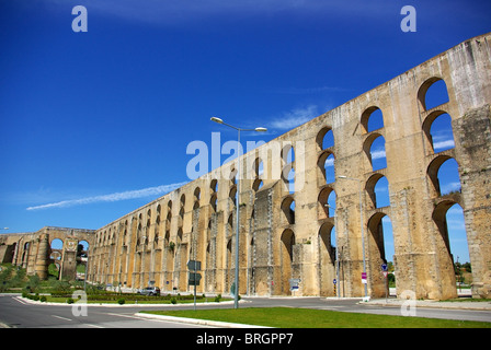 Aqueduct in old city of Elvas, south of Portugal. - Stock Photo