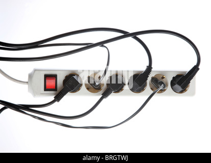 Home electrics, power supply, multi sockets, electric cables, plugs. - Stock Photo