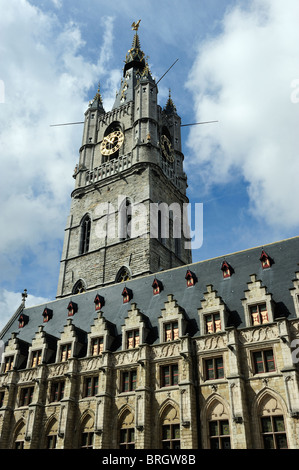 The Belfort and Lakenhalle (Cloth Hall) in the historic city centre of Ghent in Belgium - Stock Photo