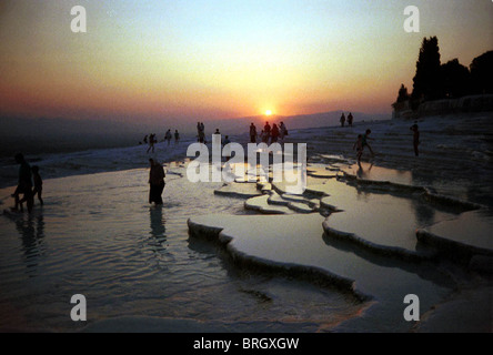 Sunset at Turkey's foremost mineral-bath spa at Pamukkale (Hierapolis), Turkey. - Stock Photo