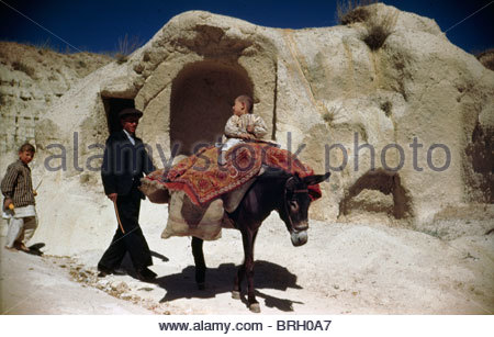 A boy rides on a donkey; his father and brother follow behind. - Stock Photo