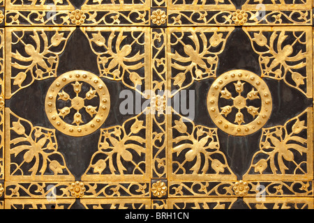 Detail of the main entrance door of the Cathedral of the Dormition at the Kiev Pechersk Lavra in Kiev, Ukraine - Stock Photo