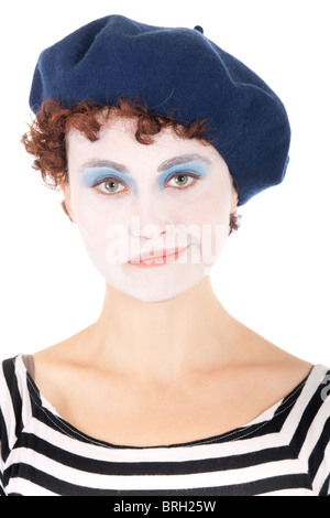 portrait of sad clown woman wearing blue beret isolated on white - Stock Photo