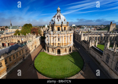 Radcliffe Camera and Oxford Colleges viewed from St Mary's Church - early Autumn morning 2 Stock Photo