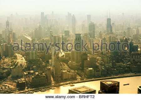 S.W. over central Shanghai, China, from Park Hyatt Hotel in Shanghai World Financial Center tower, Pudong. October - Stock Photo