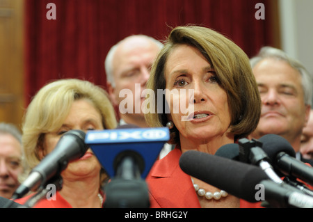 House Speaker Nancy Pelosi at a press conference after the James Zadroga 9/11 Health and Compensation Act passed - Stock Photo