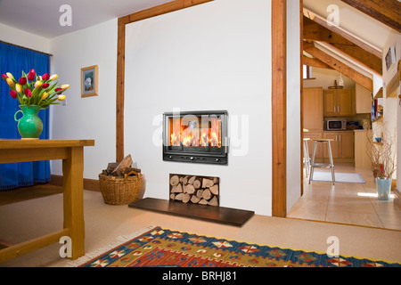 A Woodfire RS15D  two sided wood burning stove in a dining room and kitchen - Stock Photo