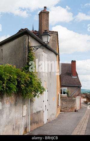 Street scene in the old French village Langres - Stock Photo