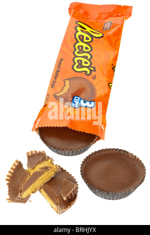 Orange packet of Hersheys Reese's chocolate covered peanut butter cups - Stock Photo