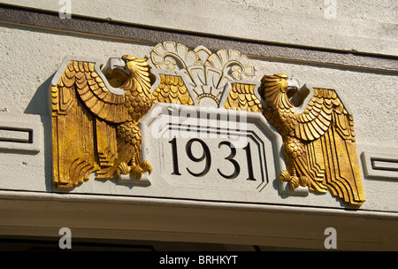 Art Deco eagle detail above entrance of pedestrian tunnel on Power Avenue South in Birmingham, Alabama, USA - Stock Photo