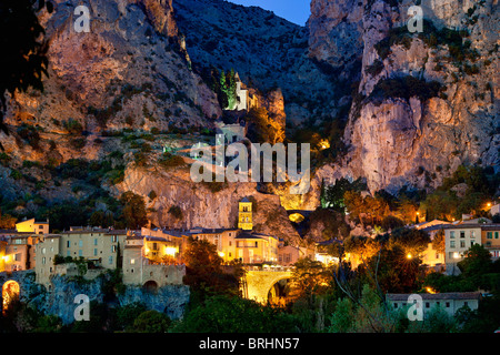Alpes-de-Haute-Provence,  Village of Moustiers Sainte Marie - Stock Photo