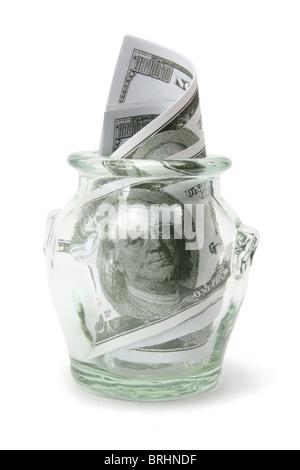 Dollar Notes in Glass Jar - Stock Photo