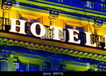 France, Paris, Hotel Sign - Stock Photo