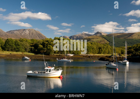 The sheltered boat and Yacht moorings at Bishop's Bay, Loch Leven, Ballachulish, Highland Region. Scotland.  SCO - Stock Photo