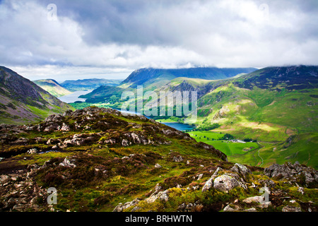 View over Buttermere & Crummock Water from the Haystacks path, Lake District National Park, Cumbria, England, UK - Stock Photo