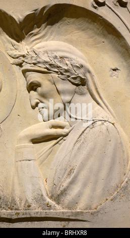 Plaque depicting the poet Dante (1265-1321), Vallombrosa, Tuscany, Italy - Stock Photo
