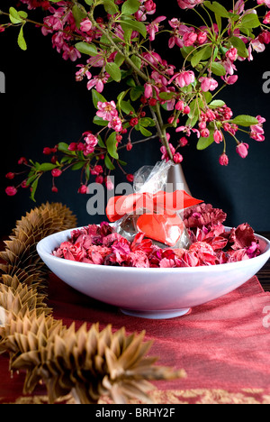 Pot pouri with candle - Stock Photo