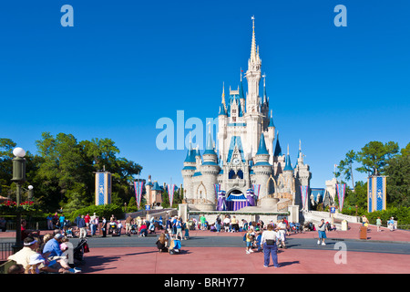 Kissimmee, FL - Nov 2009 - Park guests pose for photos in front of Cinderella's Castle in Walt Disney's Magic Kingdom - Stock Photo
