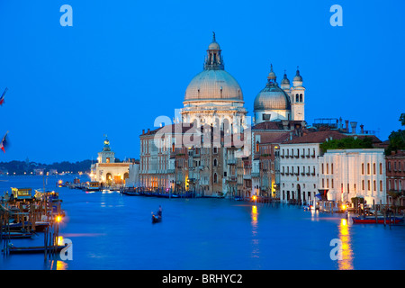 Venice, View from Academia Bridge on Grand Canal and Santa Maria de la Salute at night - Stock Photo