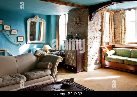 The drawing room in an old English country house - Stock Photo