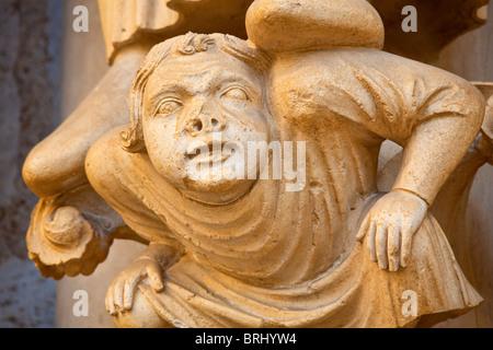 Europe, France, Eure-et-Loir (28), Notre Dame de Chatres Cathedral, Sculpture on the North Portal - Stock Photo