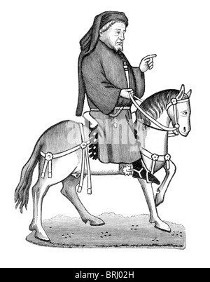 Black and White Illustration; Geoffrey Chaucer on Horseback, from the Ellesmere Manuscript of Canterbury Tales - Stock Photo