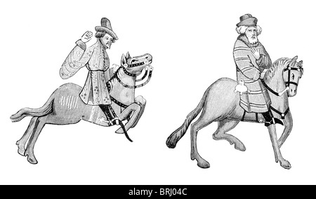 Black and White Illustration; The Merchant and Franklin, from the Ellesmere Manuscript of the Canterbury Tales, - Stock Photo