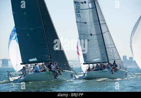 goomby smash and tirade in line to round the upwind mark - Stock Photo